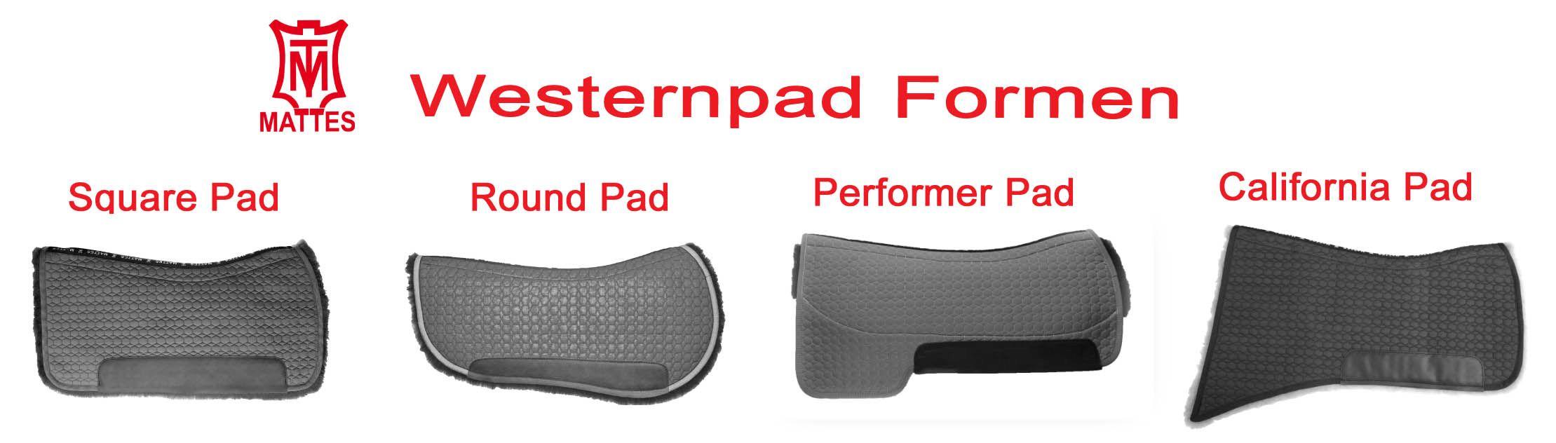 Mattes Westernpads - verschiedene Formen